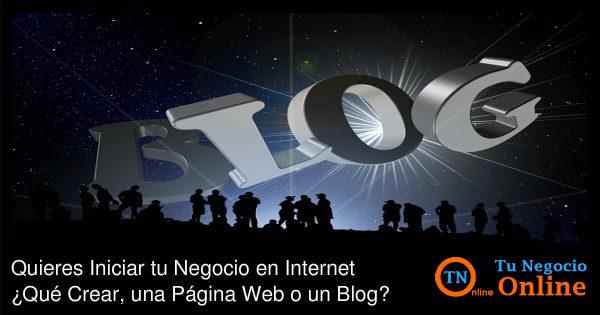 Negocio por Internet, Pagina web o Blog